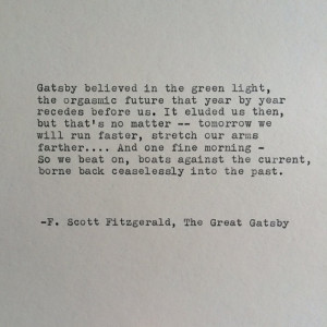 Scott Fitzgerald Great Gatsby Quote Hand Typed on Typewriter ...