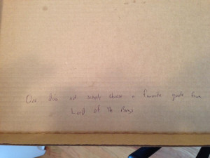Pizza Hut delivered: Because we were watching The Hobbit, I asked them ...
