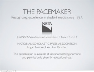 The NSPA Pacemaker Fall 2012