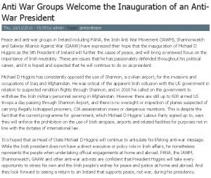 Anti-American groups welcome Higgins as President, 10 Nov 2011.