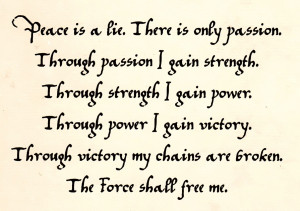The Code of the Sith, as penned by Sorzus Syn herself around 6,900 BBY