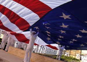 File:US Navy 090522-N-0780F-001 Sailors open an American flag before a ...