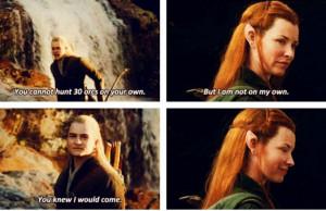 Legolas and Tauriel. Okay...I don't like them adding characters. I ...