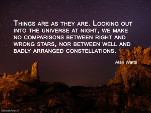 Things are as they are. Looking out into the universe at night, we ...