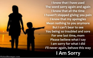 Sweet poem to say sorry to a mother