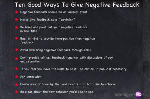 Ten Good Ways To Give Negative Feedback Intelligenthq