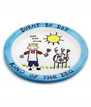 Bbq Platter Funny Clever Burnt Dad Barbecue Plate For
