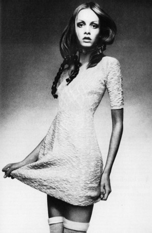 Twiggy wearing a knit baby-doll dress by Juliano Knits c. 1970