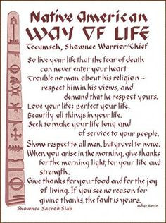 American Way of Life.... So live your life that the fear of death ...