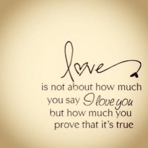 ... you say i love you but how much you prove that its true love quote