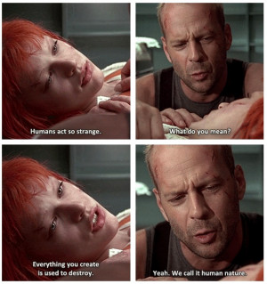 ... Human Nature As Bruce Willis Watches Over Her In Fifth Element