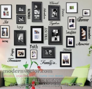 Details about Picture Collage Words Vinyl Wall Quote Decals FAMILY IS