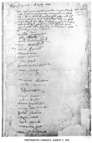 Portsmouth Compact, March 7, 1638 Signed by our 8th Great Grandfather.