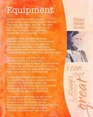 Poem - Equipment by Edgar Albert Guest