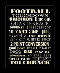 ... Print 11x14 by PaperBleu on Etsy, Football, Quotes, Sayings, Word Art