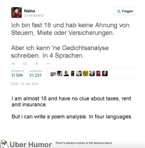 ... nowadays. This Tweet from a german student has gone viral this week