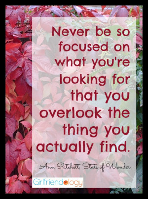 Never be so focused on what you're looking for that you overlook the ...