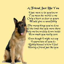 ... Coaster - Friend Poem - German Shepherd Dog + FREE GIFT BOX