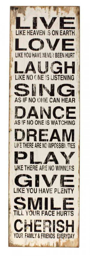 Dance Dream Play Give Smile Cherish Large Inspirational Wall Quote ...