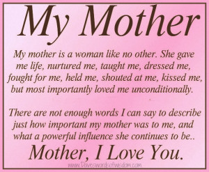 Mother, I Love You.