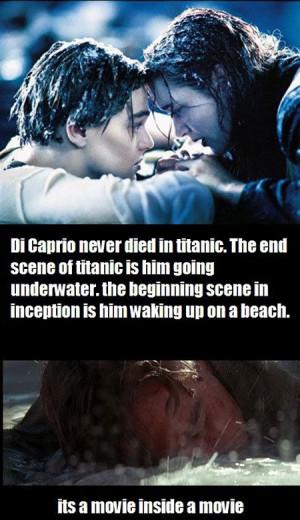 funny Leonardo Dicaprio dead Titanic Inception