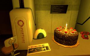 Portal cake wallpaper by PepperFox23