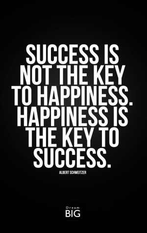 Success is not the key to happiness.