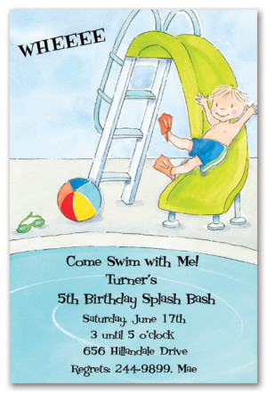 Little Boy Pool Party Birthday Party Invitations