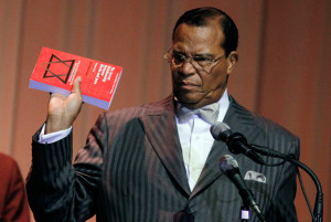 """Minister Louis Farrakhan displays the book """"The Secret Relationship ..."""