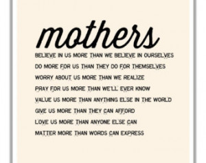 ... or Birthday Gift. Wall Art For New Mom/ Mom To Be. Motherhood Poem