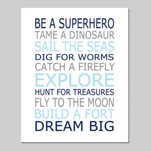 Be a Superhero Playroom Rules Baby Boy Nursery Art Quote - 11x14 Print ...