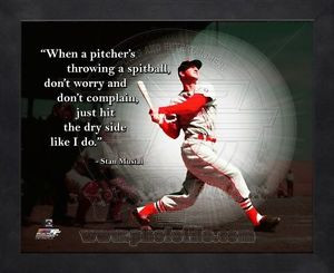 Stan-Musial-St-Louis-Cardinals-8x10-Black-Wood-Framed-Pro-Quotes-Photo