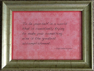 Emerson quotation: Be yourself - antique gold frame. $12.50, via Etsy.