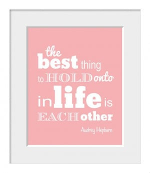 Audrey Hepburn, Inspirational Quote, Home Decor, Typography, Love ...