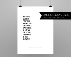 1984 GEORGE ORWELL// quote poster // Select a Size // black and white ...