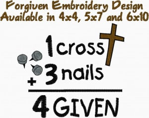 one cross three nails forgiven postcards