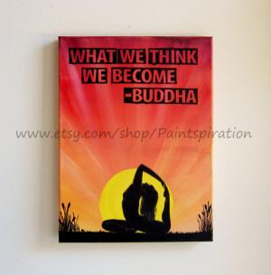 ... Painting Canvas Quote Art - Sunrise Yoga Inspirational Words Artwork