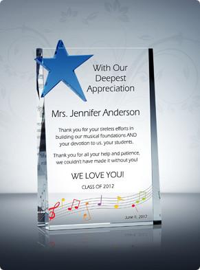 Home > Teacher Awards > Music Teacher Appreciation Plaque