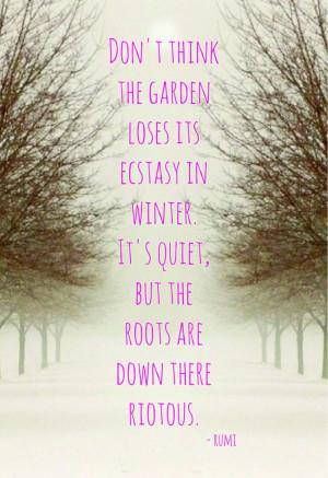 , quotes & haiku - riotus roots in winter - rumi Winter Snow, Quotes ...