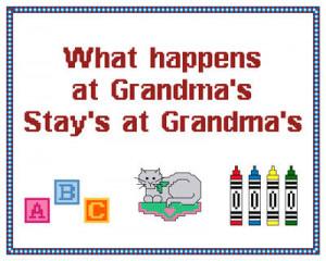 Cute Grandma Sampler Cross Stitch Pattern sayings
