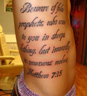 Man with rib tattoo, tattoo is a verse from Matthew