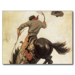Vintage Cowboy on a Bucking Bronco Horse, Western Postcard