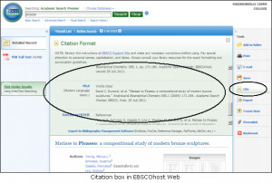 Citation generator in EBSCOhost Web