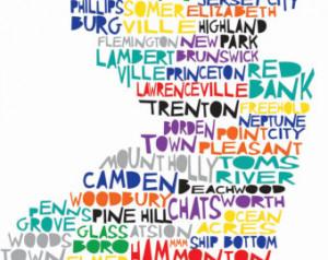 NEW JERSEY State Digital Illustrati on with Trenton Newark Ocean City ...