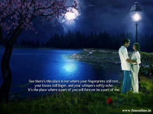 night view of Love Couple standing near river