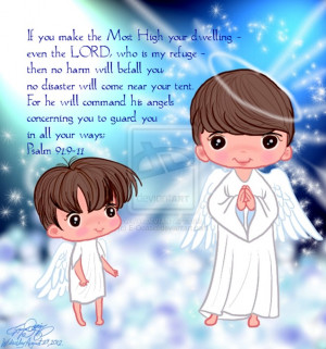 Cute Brothers Angels with Bible quote by E-Ocasio