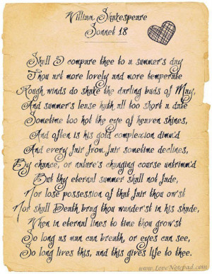 William Shakespeare - Sonnet 18 , One of the most beautiful love poems ...