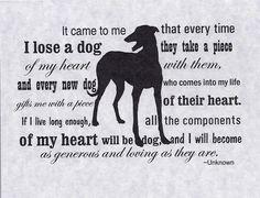 Greyhound Dog Sympathy Cards with Envelopes - Heart of a Dog, set of 4