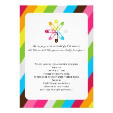 Bright Rainbow Stripe Diaper Pin Baby Shower Personalized Invite