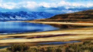 The great salt lake in utah hdr beach grass HD Wallpaper